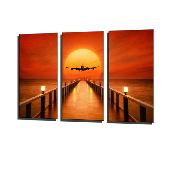 Airplane, Sunset Horizon,3 Pieces Canvas Prints Wall Art Oil Painting Home Decor (Unframed/Framed) .