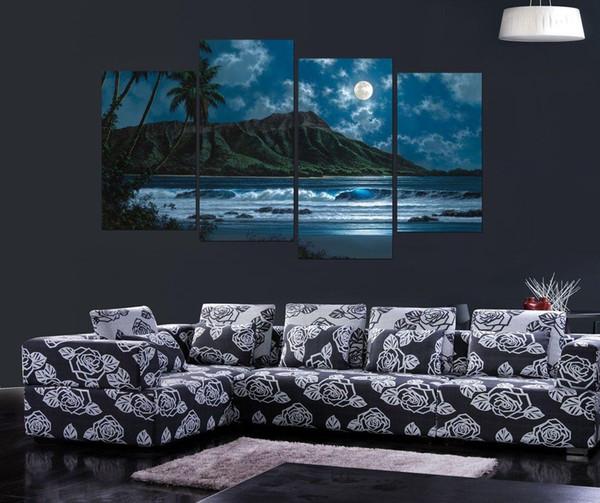 Hawaiian Seascape, 4 Peças Home Decor HD Impresso Modern Art Pintura em Tela (Sem Moldura / Emoldurado)