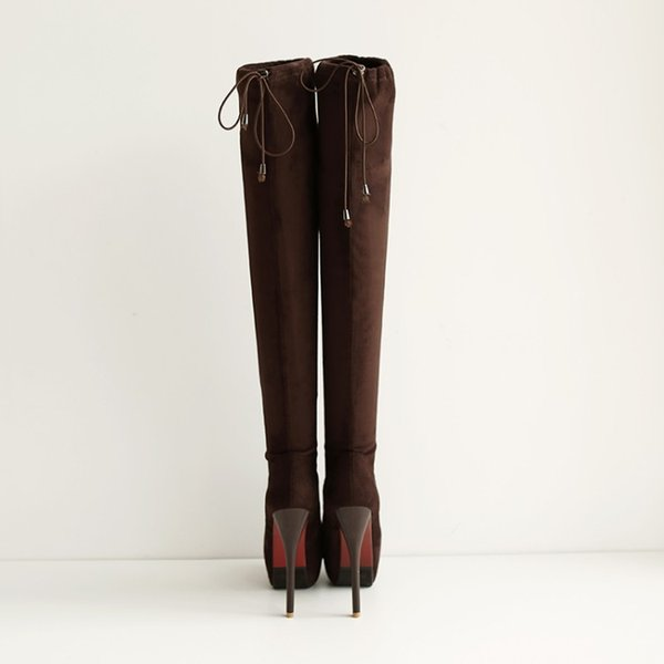 Big Size 9 10 11 12 thigh high boots knee high boots over the knee women ladies Elastic sleeve for rear binding