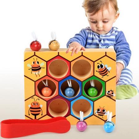 montessori pädagogische Holzspielzeug Bienenstock und bunte Bienen 2-3-4 Jahre alt Jungen Mädchen Kindergarten frühen Unterricht Spielzeug