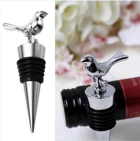 wholesale Love Birds Design Wine Bottle Stoppers Wedding Party Favors With Gift Boxes Guest Gift For Men Free Shipping