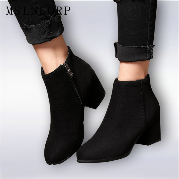 Plus Size 34-45 Women Boots High Heels Ankle Boots Short Plush Round Toe Motorcycle Fashion Sexy Winter Snow Shoes