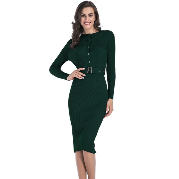 Womens Business Dresses Knit Dress Female Solid Color with Belt Long-sleeved Slim Fit Package Hip Pencil Dress