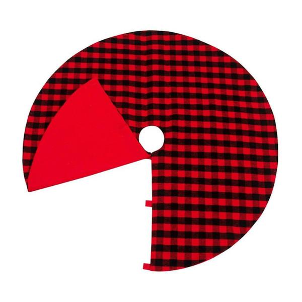 Areyourshop 48 polegada saia da árvore de natal com vermelho e preto verificar enfeite de natal árvore de decoração para casa