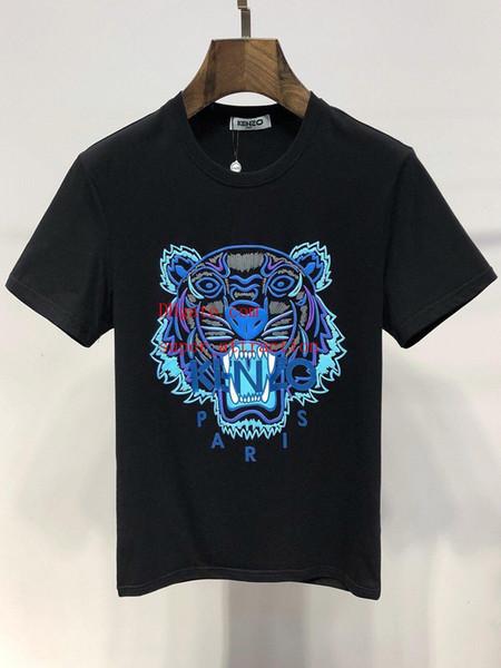2019 camisetas de verano para hombre tops tiger head carta bordado camiseta para hombre marca de manga corta camiseta mujeres tops gh1