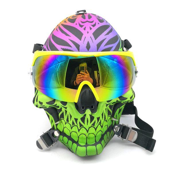 New Cool Skull Hookahs Shisha Gas Mask Bongs Smoking Water Pipe Straight Pipe Oil Beaker Plastic Mask Acrylic Bong