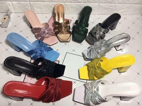 Zapatos de mujer Mules Mujer 2019 Zapatillas de mujer Zapatos casuales Primavera Verano Señora Sexy tacón 7 cm Diapositivas de tacón alto Zapatillas