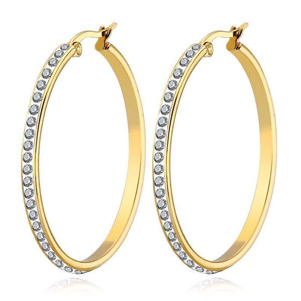 (TE-0103) Titan stahl Pasten Kristalle Creolen Für Frauen Modeschmuck Gold Farbe