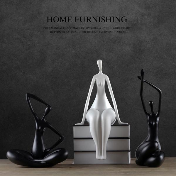Creativa niñas resina dama Yoga Yoga figurita estatua de la vendimia decoración de la habitación decoración para el hogar manualidades objetos Deportes figuritas