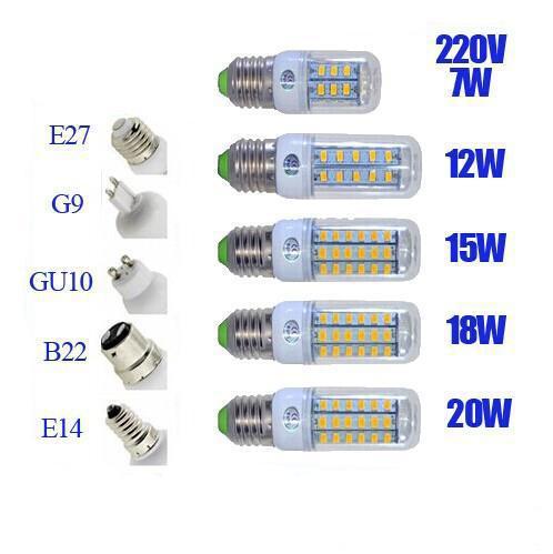 best selling SMD5730 E27 GU10 B22 E12 E14 G9 LED bulbs 7W 9W 12W 15W 18W 110V 220V 360 angle LED Bulb Led Corn light