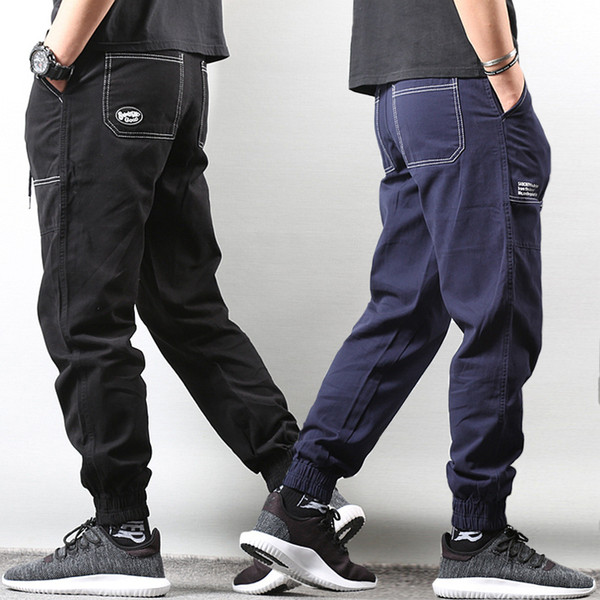 Japanese Style Fashion Men Jeans Loose Fit Casual Big Pocket Cargo Pants Men Slack Bottom Hip Hop Joggers Harem Pants Homme
