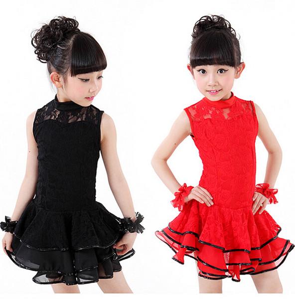 Дети без рукавов желтый черный красный кружевной цветок латинского танца платье для девочек юбка Vestido De Baile латиноамериканские костюмы для танцев