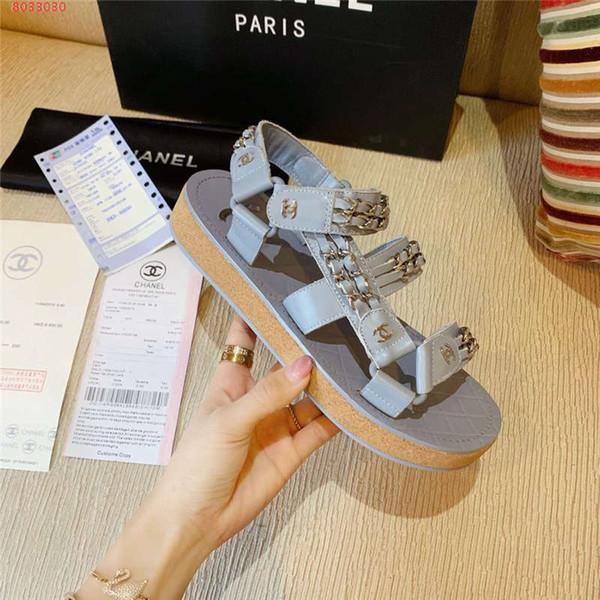 Sandálias de verão novo listrado de couro cadeia sandálias planas decorativas confortáveis antiderrapante não-slip sola de borracha sandálias Casuais