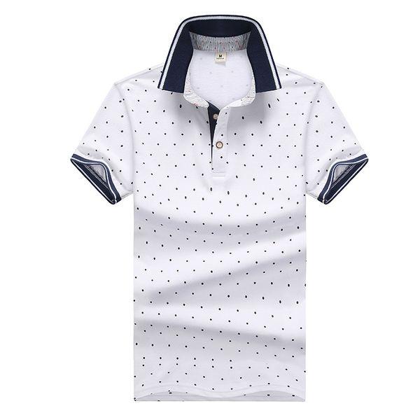 Brand Solid Color Polo Shirts Summer T Shirts for Men Fashion Polo Shirt Mens High Street Dot Printed Top Tees M-4XL