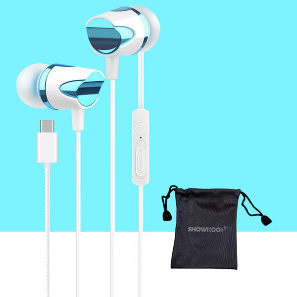 Showkoo Type-c connector In-ear earphone for xiaomi mi6 huawei P20 High quality with mic headphone for Letv usb type-c