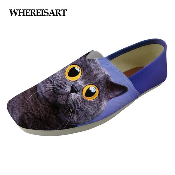 WHEREISART Bayanlar Ayakkabı Flats Kadın Loafer'lar Ayakkabı Sevimli Hayvan Kedi Baskı kadın Kızlar için Moda Tuval Tembel Bez