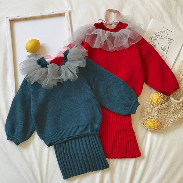 Wholesale Ready in Stock Pullover Children with Skirt knitted solid color kid sweater with free shipping