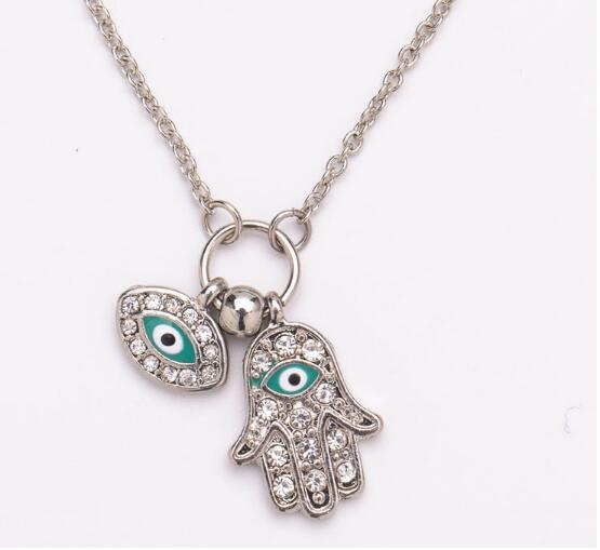 Fashion The Hand of Fatima Pendant Gold Silver Turkish Jewelry Hand Shape Turkey's Blue Eyes Necklace K3611