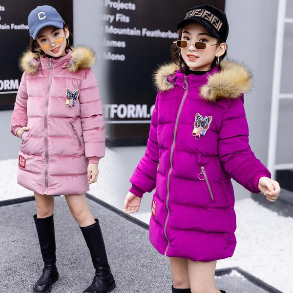 Cold Winter Bébés filles Vêtements chauds 4-16year bébé Manteau 2019 Nouveau Mode enfants Thicken Veste à capuche de Noël Habineige vêtement