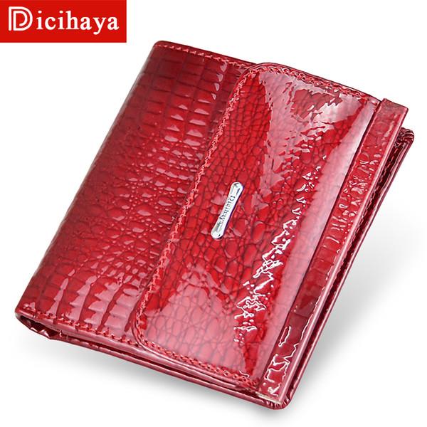 Dicahaya Couro Genuíno Das Mulheres Carteiras Mini Carteira das Mulheres de Embreagem Curta Bolsa Feminina Carteira Titular do Cartão de Bolsa de Couro de Luxo Feminino J190628