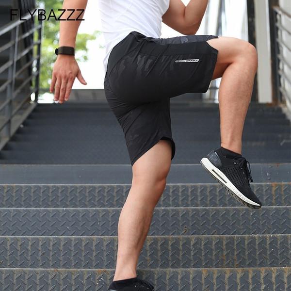 Männer Sport Laufshorts Jogging Reißverschlusstaschen Schnelltrocknend Männer Fitnessstudio Fitness-Studios Kurze Hose Männer Große Lose Shorts