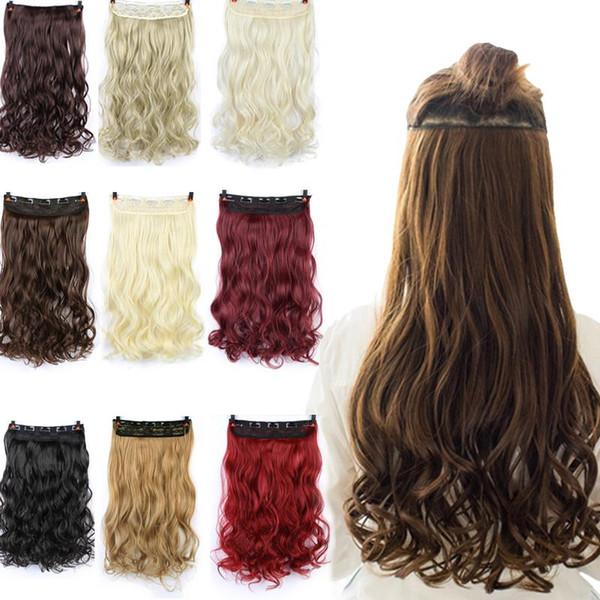 60 centimetri 5 clip in capelli termoresistente falso posticci lunghi acconciature ondulate sintetico clip in capelli + parrucca netto