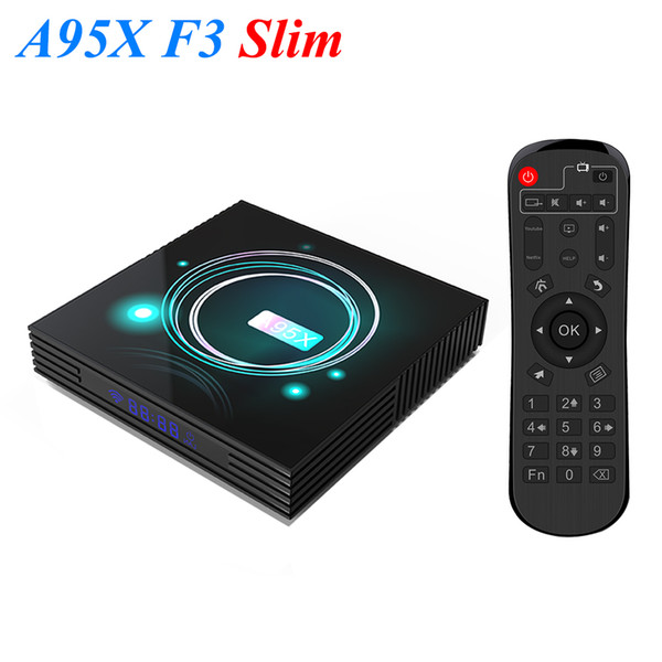 best selling A95X F3 Slim Smart TV Box Android 9.0 8K Amlogic S905X3 USB3.0 2.4+5.0G WiFi Media Player PK X96 Air