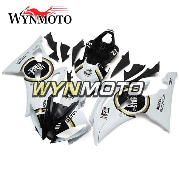 Carenados de motocicleta completos para Yamaha YZF 600 R6 2008 - 2016 09 10 11 12 13 14 15 Inyección de plástico ABS Motocicleta Blanco Negro Lucky Strike