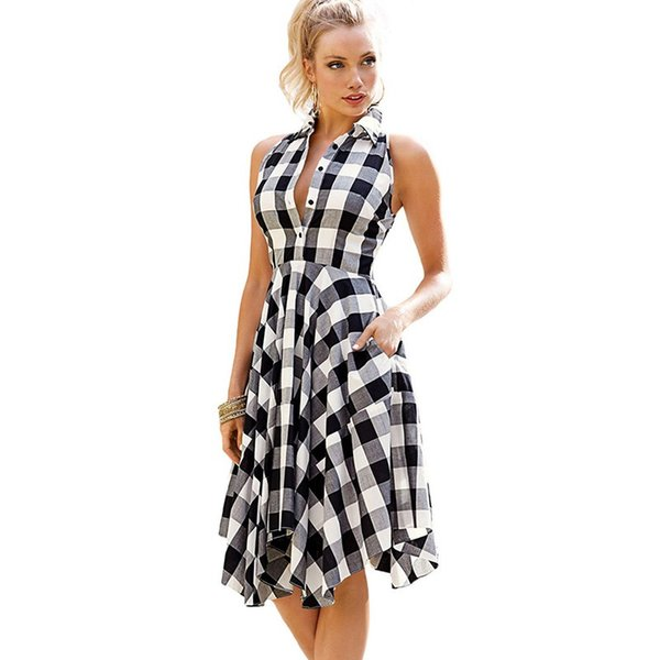 Compre Vestidos De Mujer 2019 Verano Sin Mangas Camisa A Cuadros Vestido De Dobladillo Irregular Bodycon Vestido De Mujer Bolsillos Laterales
