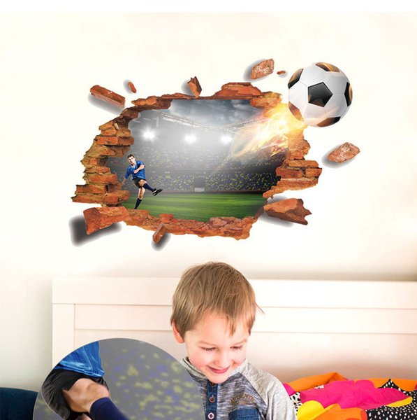 3D Brocken Football Soccer Wall Stickers For Kids Boy Rooms TV Background Living Room Bedroom Wall Decals Decoration