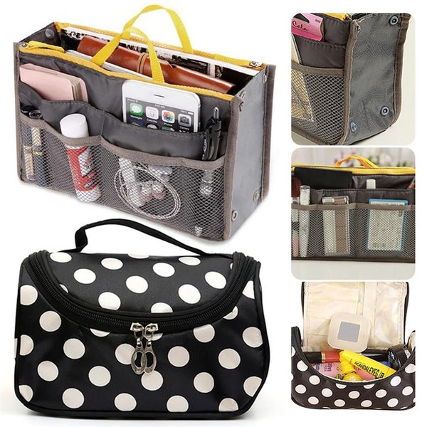 2PCS Women Toiletry Organizer Bags Travel Beauty Storage Handbag Pouch Dot Solid Printed Cosmetic Makeup Bag Wash Kit