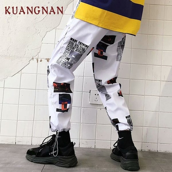 shen8407 / KUANGNAN Pantalón de hip hop hasta el tobillo Hombres Pantalones Jogger Harem Pantalones Hombres Ropa 2018 Joggers Streetwear Hombres Pantalones Cas