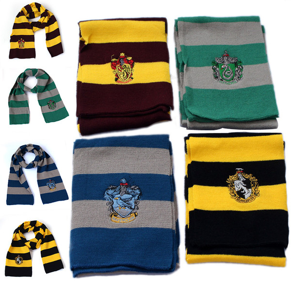 4 Colors Harry Potter Scarf Gryffindor Slytherin Hufflepuff Ravenclaw College Scarves Carnaval Cosplay Costumes For Boys Girls Halloween Gif