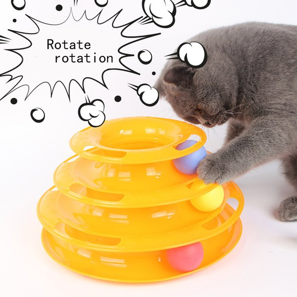 1pcs pet cat interactive toy tower of tracks 3 level cat tracks interactive ball toy for k1214 g
