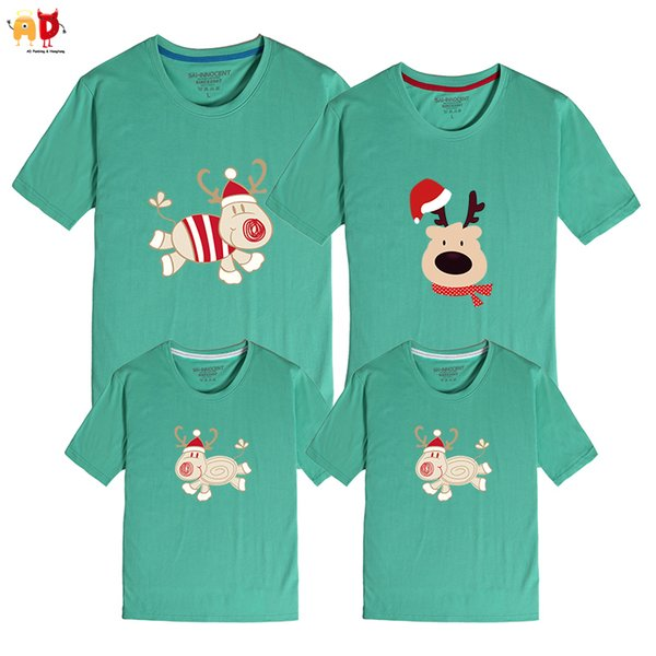 good quality 1PCS Christmas Deer Family Matching T-shirts Mother Son Father Daughter Clothing Cotton Fabric Couple Clothes Tops Outwear