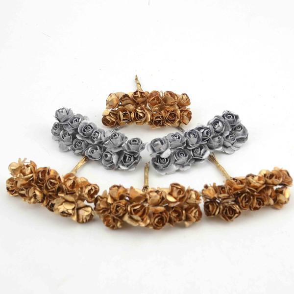Parti Düğün Dekorasyon Hediye Kaynağı İçin 144pcs Kafa 2cm Altın Gümüş Erik Çiçek Yapay Mini Kağıt Gül Scrapbooking Çiçekler
