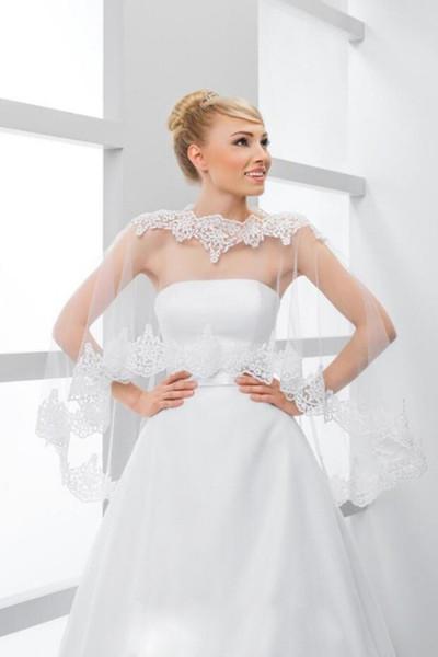 Lace Bridal Wraps Jackets White Bateau High Low Wedding Boleros Shawls For Wedding Dresses Bridal Gowns Large Size