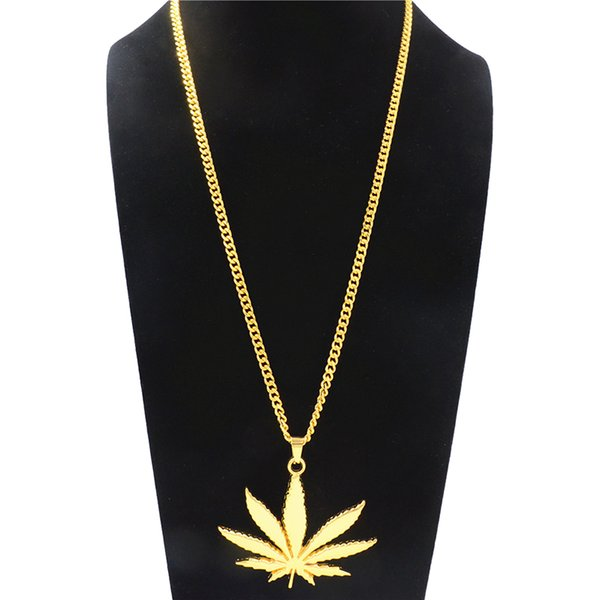 Creative Large Maple Leaf Pendant Necklace Men Classic Hip Hop Party Long Necklace Fashion Alloy Gold Plated Jewelry Accessories Wholesale