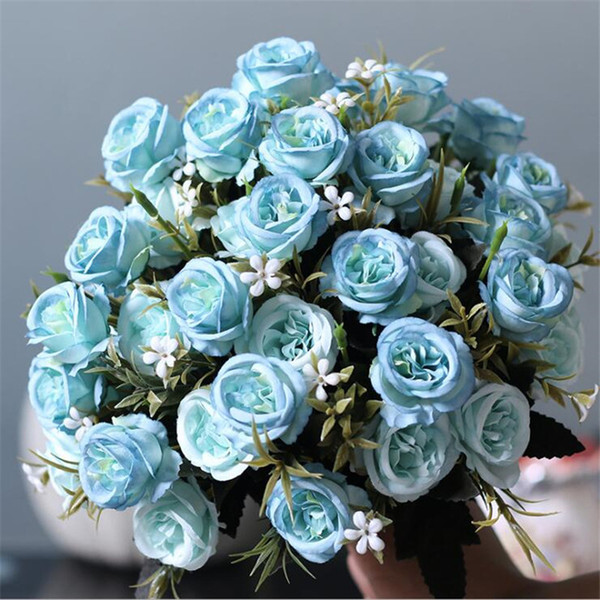 Fake Oil Painting Mini Rose Bunch (6 stems/piece) Simulation Roses for Wedding Home Showcase Decorative Artificial Flowers