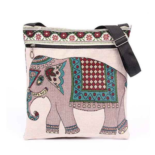 Mode Femmes Sacs À Bandoulière Zipper Lady Enveloppe Tote Bag Broderie Éléphant Prints Doux Tissu Messenger Sacs Casual Embrayage