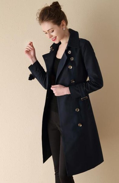 NEW! women fashion England long spring trench coat/high quality brand designer double breasted slim fit trench for women size S-XXL