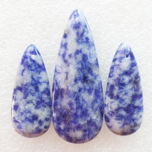 Novo Natural 3 pçs / set Sodalita Teardrop Gemstone Jóias Pingentes Beads Conjuntos para Colares Fazer Atacado