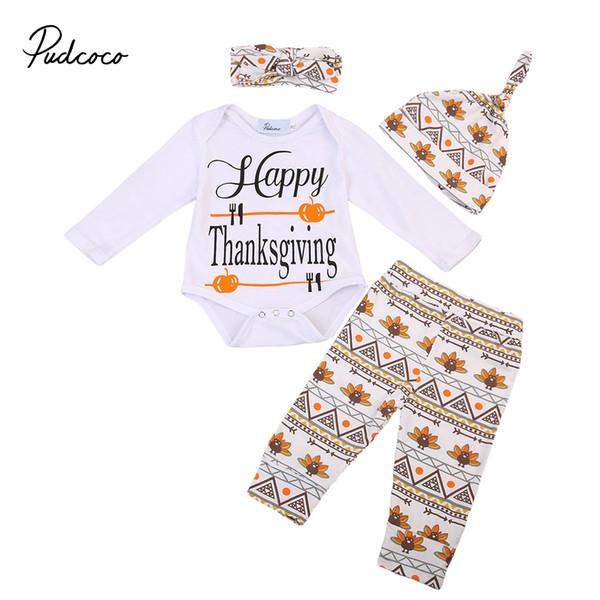 4PCS Seti Bebek Şükran Günü Yenidoğan Boy Kız Romper + Pantolon Tayt Şapka Kıyafetler Giyim Tops set