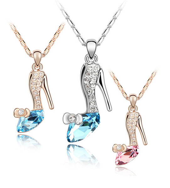 Fashion Austria Crystal Shoes pendants necklace Silver&Gold chains Ladies Rhinestones high-heeled shoe Charms Necklaces For women K6227