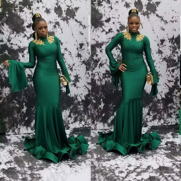 2019 Green African Long Evening Gowns Mermaid Elastic Satin With Gold Lace Prom Dress Lace Appliques White Party Gowns