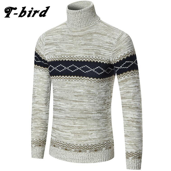 T-Bird 2017 Autumn Brand Clothing Men Sweater Stripe High Collar O-Neck Slim Fit Casual Pullover Men Sweaters Keep warm Knitting