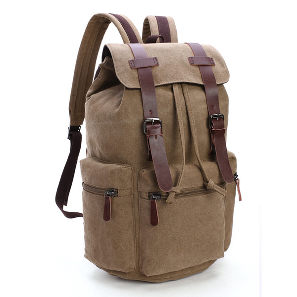 Men Canvas Backpack Large Capacity School Bags For Teeagers Boys Girls Drawing String Preppy Style Travel Backpack Casual Laptop Bacpack