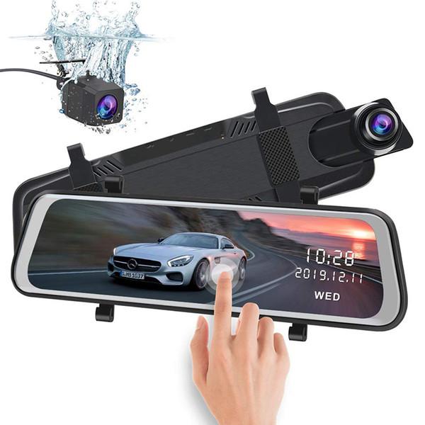 10-Zoll-Full-Touchscreen-Stream-Media-Truck-Auto-DVR-Rückspiegel, Doppelobjektiv-Rückfahrkamera, 1080P Full HD Dash-Camcorder