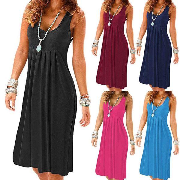 2000 # S-XXl Plus SIze Ladies Womens Summer Holiday Casual senza maniche Sundress Beach Party Midi Dress