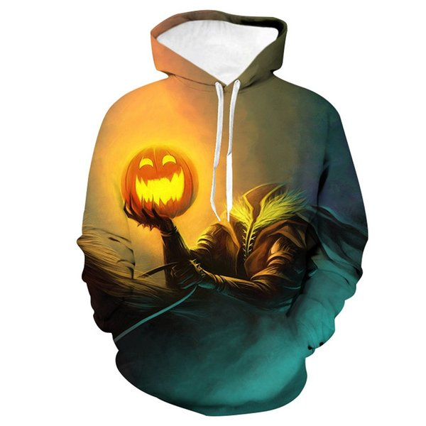 Sudaderas con capucha para hombre Casual Scary Halloween 3D Impreso Sudadera de manga larga Sudadera con capucha naranja Blusa superior 19Aug5 P30